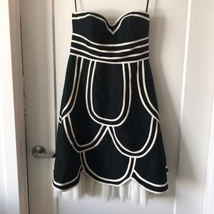WD NY black and white silk strapless dress